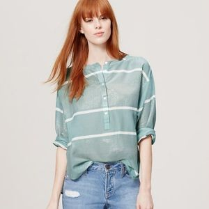 LOFT | Mint with gold stripe The Softened Shirt M